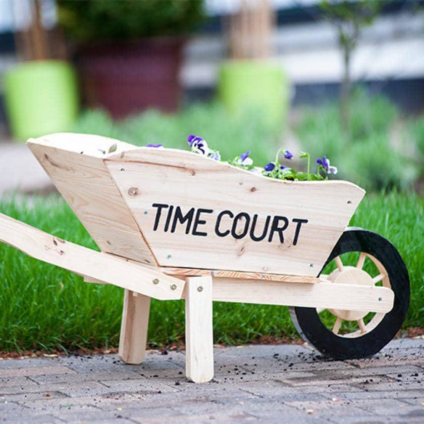 Miniature wheelbarrow at Time Court