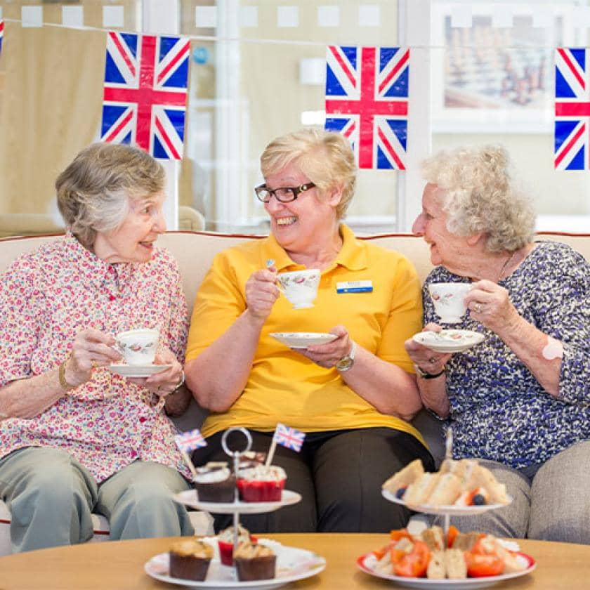 Upton Dene residents and staff enjoy tea and cakes