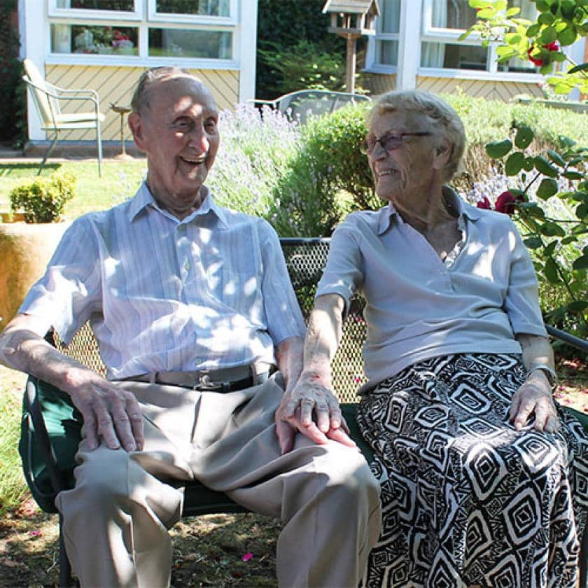 Westmead residents relaxing in the garden