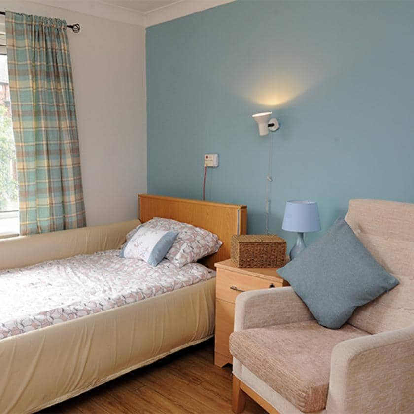 Residents bedroom at Willow Gardens
